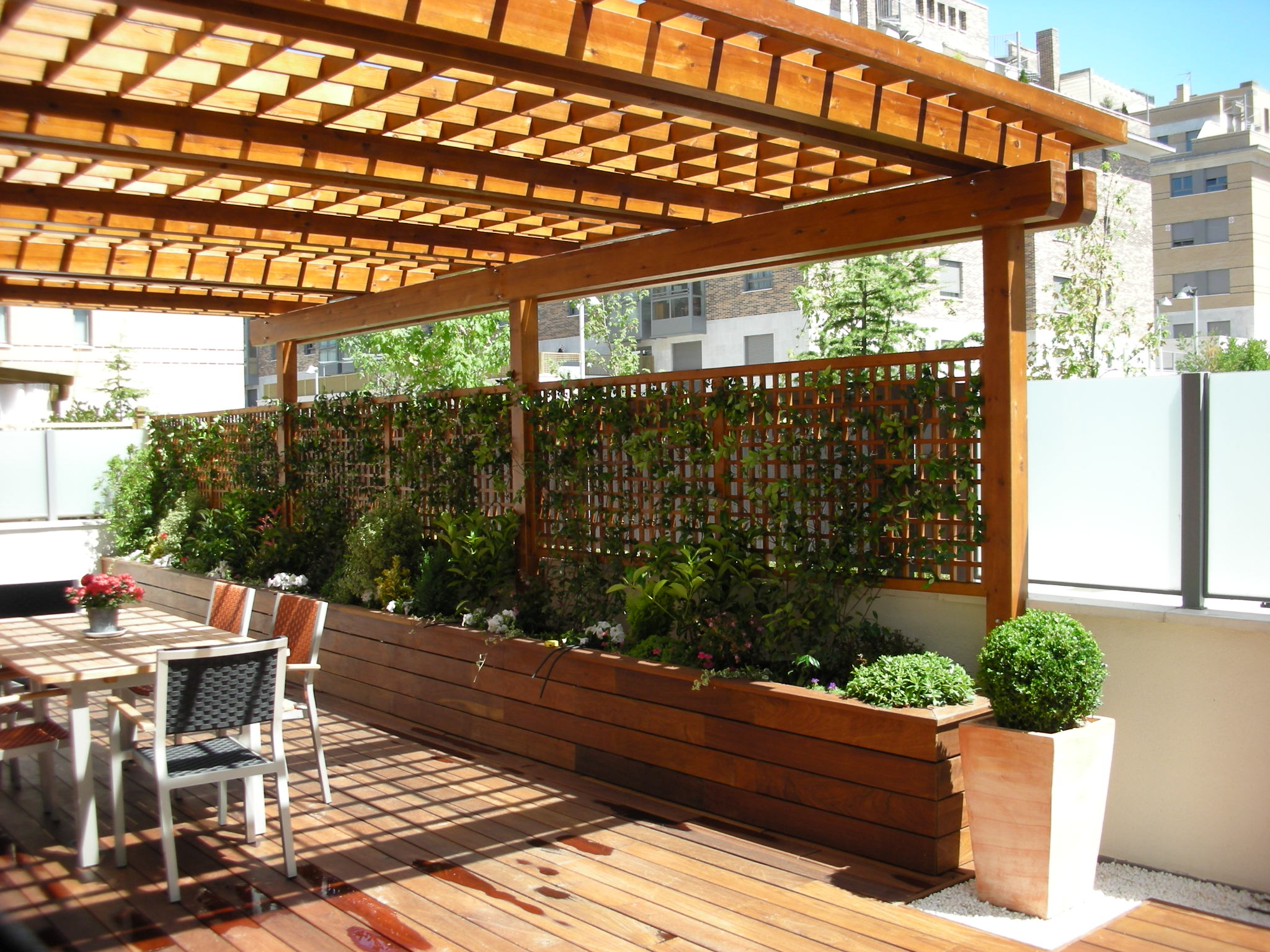 pergola with wood planter box trellis combination